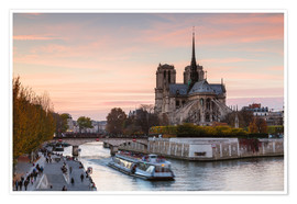 Premium poster Sunset over Notre Dame, Paris