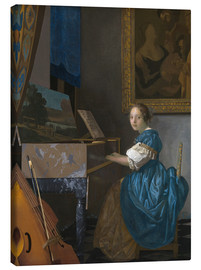 Canvas print  young woman seated at a virginal - Jan Vermeer