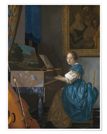 Premium poster young woman seated at a virginal