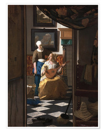 Premium poster  the love letter - Jan Vermeer