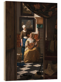 Wood print  the love letter - Jan Vermeer
