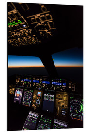 Aluminium print  Airbus A380 Cockpit at twilight - Ulrich Beinert