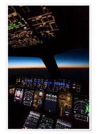 Premium poster Airbus A380 Cockpit at twilight
