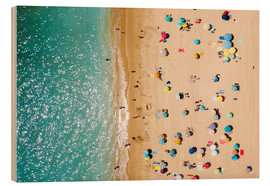 Wood print  Aerial View Of People on Summer Holiday - Radu Bercan
