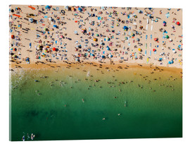 Acrylic glass  Overcrowded sandy beach of Algarve - Radu Bercan