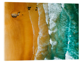 Acrylic glass  Turquoise ocean waves and tropical sand beach - Radu Bercan