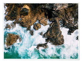 Poster  Dramatic Ocean Waves Crushing On Rocky Landscape - Radu Bercan