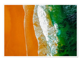 Premium poster  Ocean waves and sand beach in Portugal - Radu Bercan