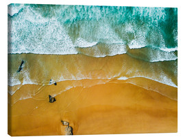 Canvas  Blue Ocean Waves And Beautiful Sandy Beach in Portugal - Radu Bercan