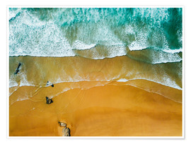 Premium poster Blue Ocean Waves And Beautiful Sandy Beach in Portugal