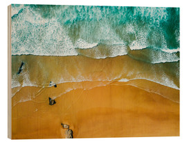 Wood  Blue Ocean Waves And Beautiful Sandy Beach in Portugal - Radu Bercan
