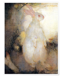 Poster White rabbit, standing