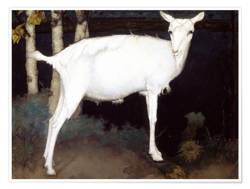 Poster Young white goat