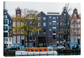 Canvas print  Dutch Houses Architecture Along Amsterdam Water Canal - Radu Bercan