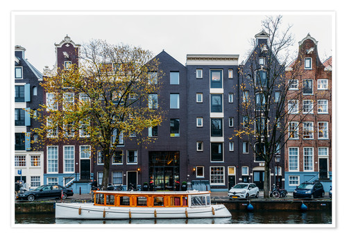 Premium poster Dutch Houses Architecture Along Amsterdam Water Canal