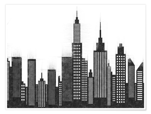 Premium poster Black and White Sketch Of New York City Skyline