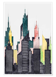 Premium poster Colorful City Of New York City Sketch