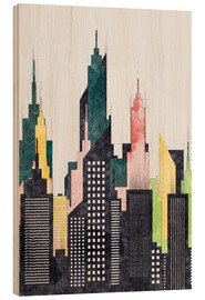 Wood  Colorful City Of New York City Sketch - Radu Bercan