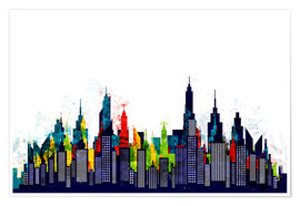 Poster  New York City Abstract Skyline In Watercolors - Radu Bercan