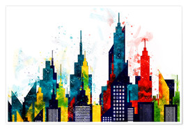 Premium poster New York City Skyscrapers In Watercolor
