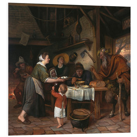 Foam board print  The Satyr and the Peasant Family - Jan Havicksz. Steen