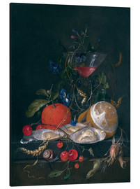 Alu-Dibond  still life with a glass and oysters - Jan Davidsz de Heem