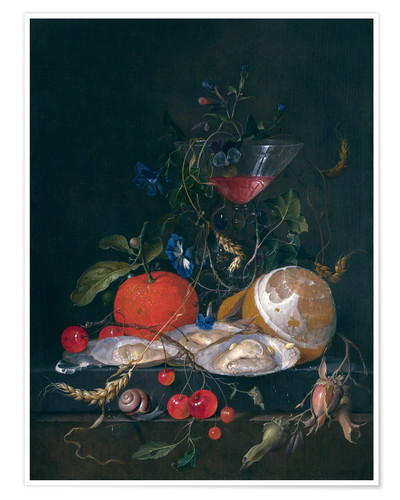Premium poster still life with a glass and oysters