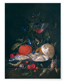 Poster still life with a glass and oysters