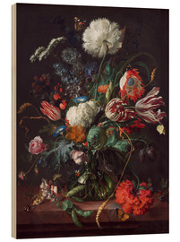 Wood print  Vase of flowers - Jan Davidsz de Heem