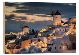Wood print  Windmills on Santorini - Dennis Fischer