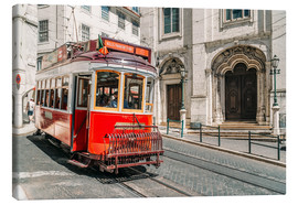 Canvas print  Red Tram Travelling In Lisbon City - Radu Bercan