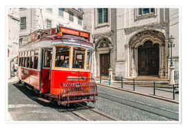 Radu Bercan - Red Tram Travelling In Lisbon City