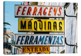 Canvas  Colorful Vintage Store Signs In Lisbon - Radu Bercan
