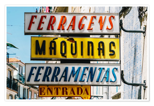 Premium poster Colorful Vintage Store Signs In Lisbon