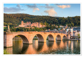Premium poster Heidelberg Old Bridge and Castle