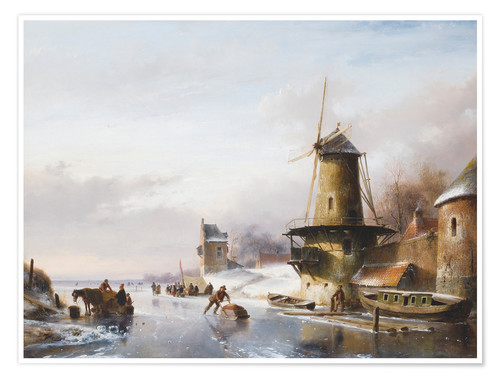 Premium poster Winter Landscape With Skaters By a Mill