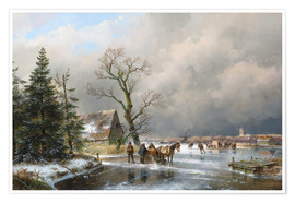 Premium poster Winter landscape with a sleigh
