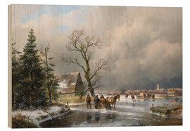Wood print  Winter landscape with a sleigh - Andreas Schelfhout