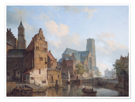 Premium poster Delftse Vaart and the St Laurens church in Rotterdam