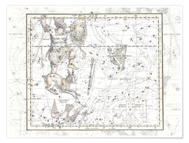 Premium poster Constellations of Eridanus, Orion, Lepus, Plate 24