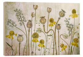 Wood print  Poppy and Helenium - Mandy Disher