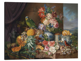Alu-Dibond  Still life with fruits flowers and parrot - Joseph Schuster