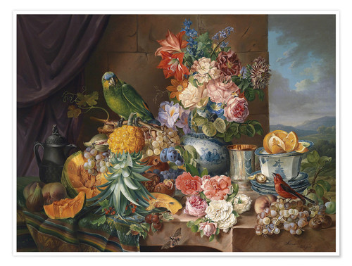 Premium poster Still life with fruits flowers and parrot