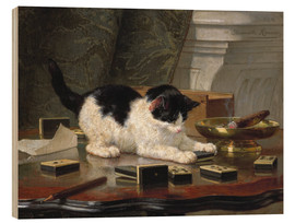 Wood print  The Cat at Play - Henriette Ronner-Knip