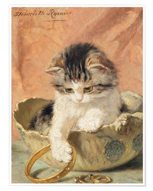 Poster  a kitten playing with jewelry - Henriette Ronner-Knip