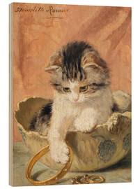 Wood print  a kitten playing with jewelry - Henriette Ronner-Knip
