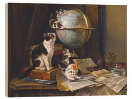 Wood print  A cat with a globe - Henriette Ronner-Knip