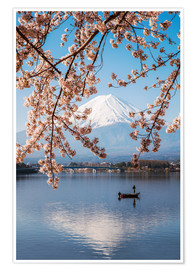 Premium poster Mt. Fuji in springtime with cherry trees