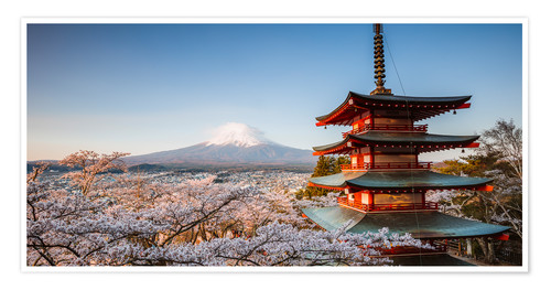 Premium poster Pagoda and Mt. Fuji with cherry blossom, Japan