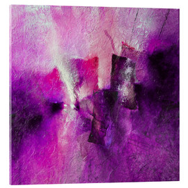 Acrylic glass  abstract composition with magenta - Annette Schmucker